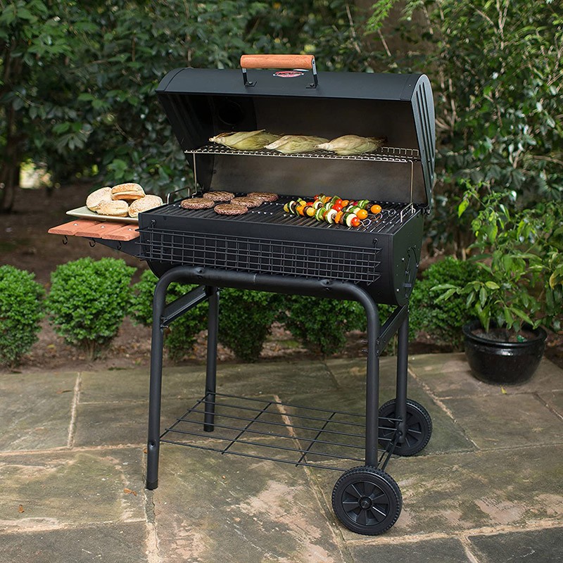 Char-Griller Pro Deluxe Charcoal Grill Open