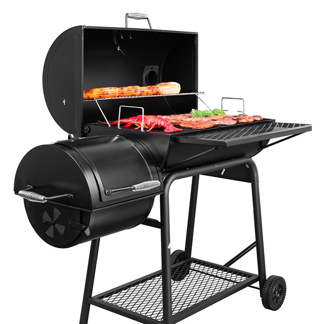 Royal Gourmet Charcoal Grill with Offset Smoker Open